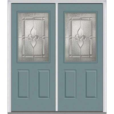 72 in. x 80 in. Master Nouveau Left-Hand Inswing 1/2-Lite Decorative Glass 2-Panel Painted Steel Prehung Front Door