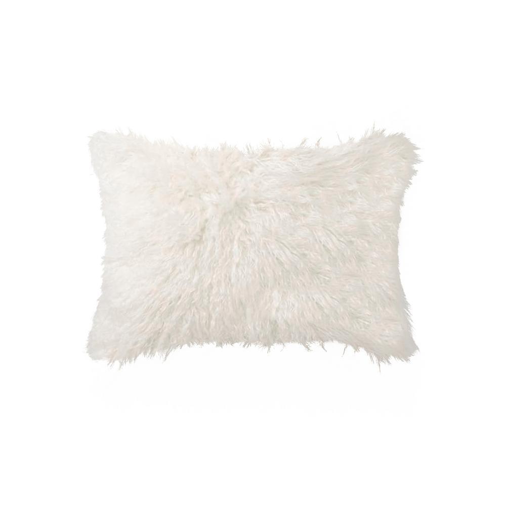 Belton Off White 12 in. x 20 in. Faux Sheepskin Decorative Pillow