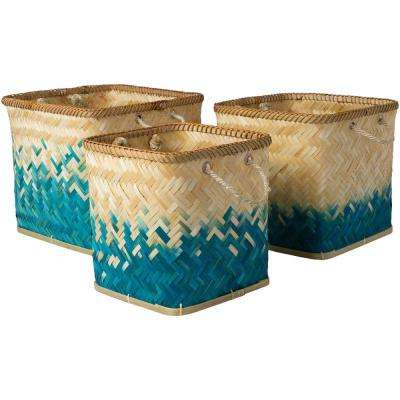 Wort Teal Bamboo 11 in. x 11.8 in., 13 in. x 13.4 in., 15.7 in. x 14.2 in. 3-Piece Basket Set