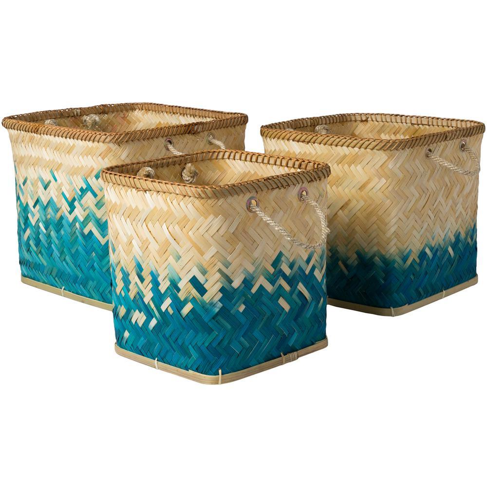 Wort Teal Bamboo 11 in. x 11.8 in., 13 in. x 13.4 in., 15.7 in. x 14.2 in. 3-Piece Basket Set