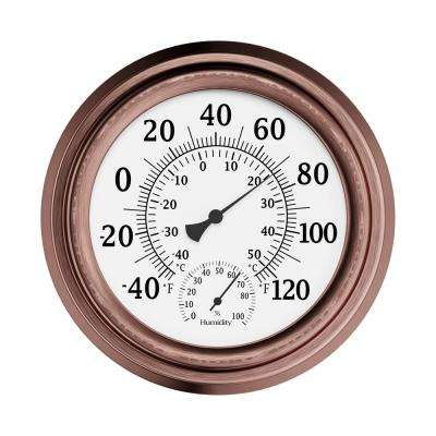 8 in. Indoor/Outdoor Wall Thermometer and Hygrometer Gauge in Copper