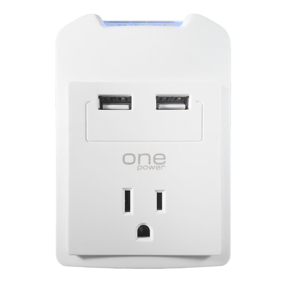1-Outlet Dual USB Wall Tap Surge Protector