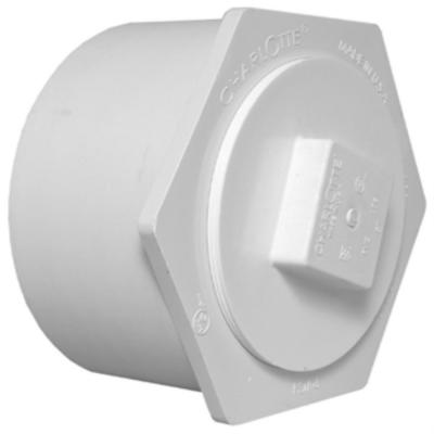 12 in. x 8 in. DWV PVC Flush Bushing Cleanout Adapter with Plug