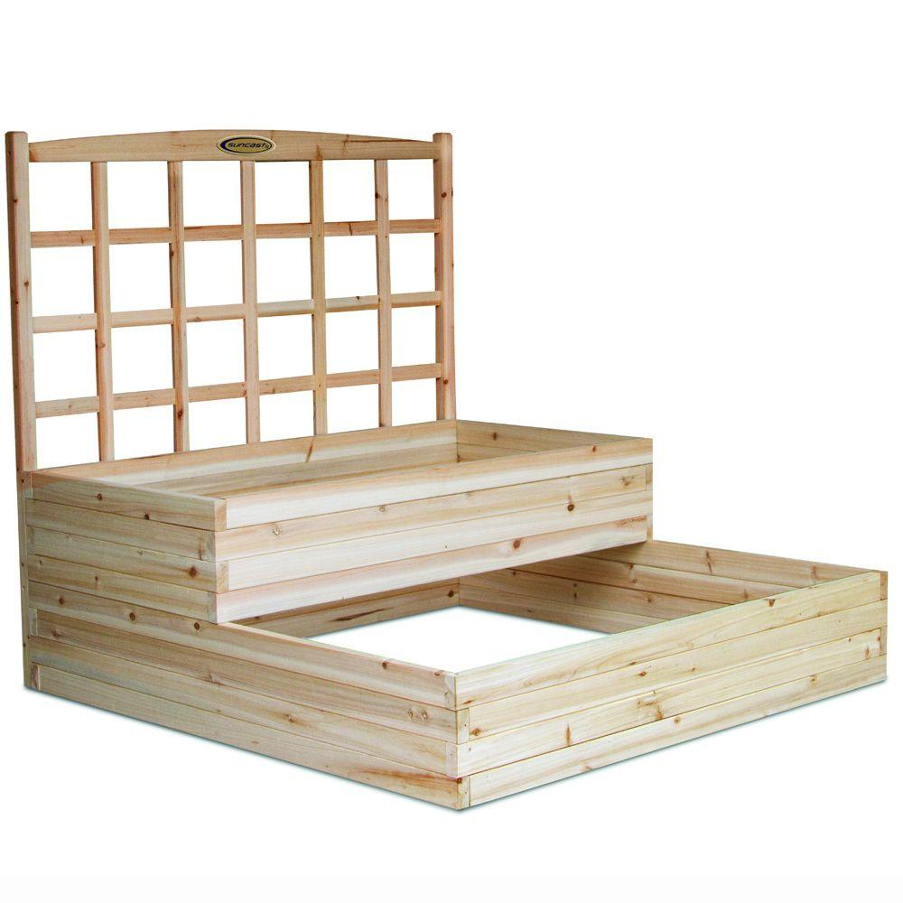 Suncast 4 ft. x 4 ft. 3 ft. 8 in. Cedar Raised Garden Bed with Trellis-DISCONTINUED