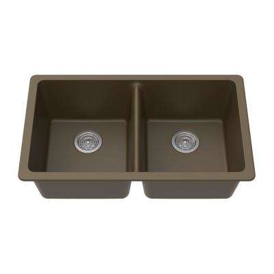 Undermount Granite Composite 33 in. x 18-3/4 in. x 9-1/2 in. Double Equal Bowl Kitchen Sink in Mocha