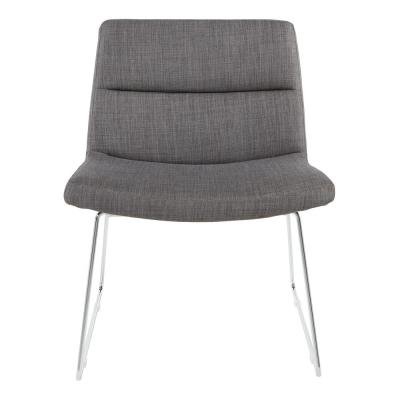 Charcoal Fabric with Chrome Sled Base Thompson Chair