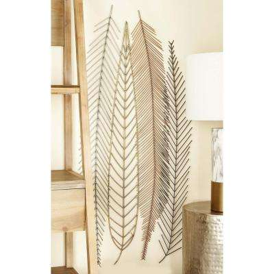 18 in. x 48 in. Iron Wire Feather and Leaf Wall Decor in Silver, Gold and Gray