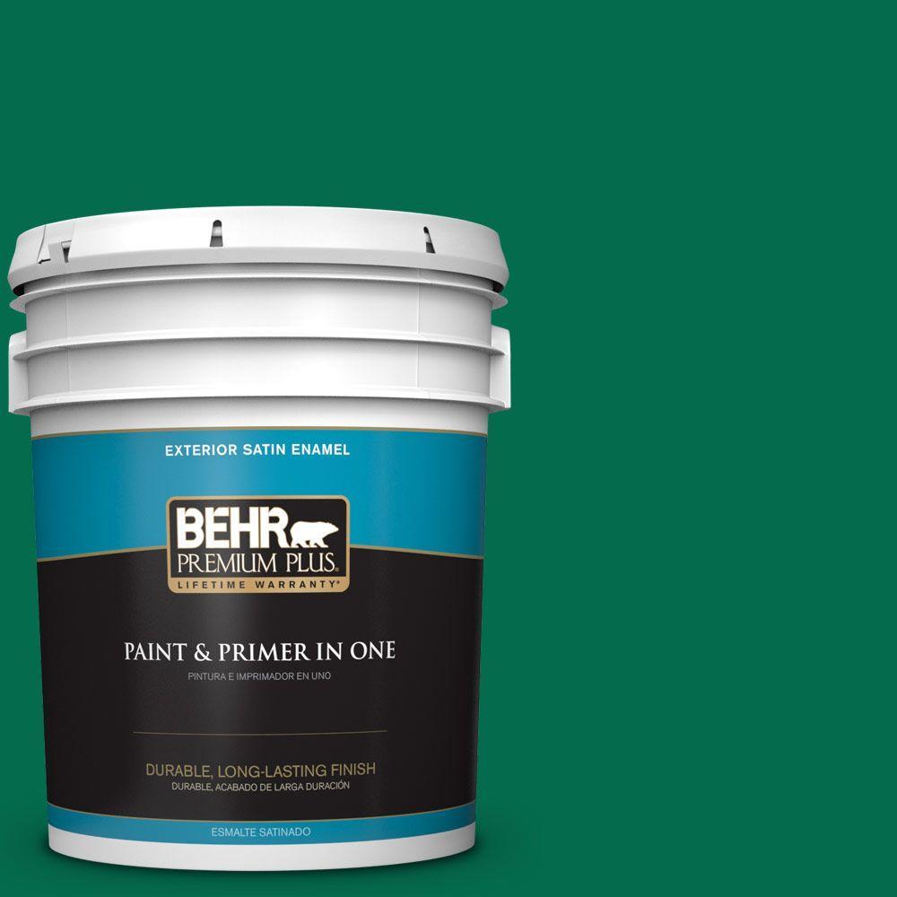 BEHR Premium Plus 5-gal. #S-H-470 Precious Emerald Satin Enamel Exterior Paint