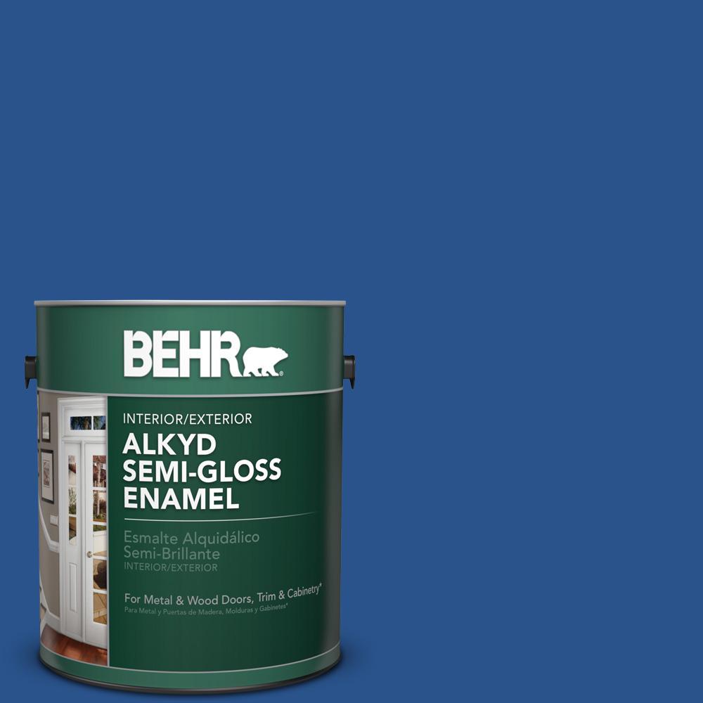 1 gal. #P520-7 Flashy Sapphire Semi-Gloss Enamel Alkyd Interior/Exterior Paint