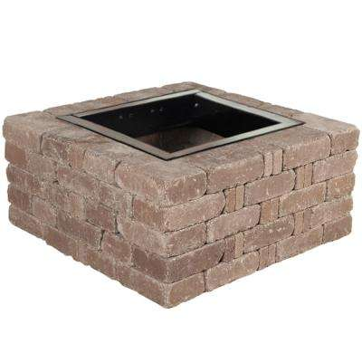 RumbleStone 38.5 in. x 17.5 in. Square Concrete Fire Pit Kit No. 6 in Cafe