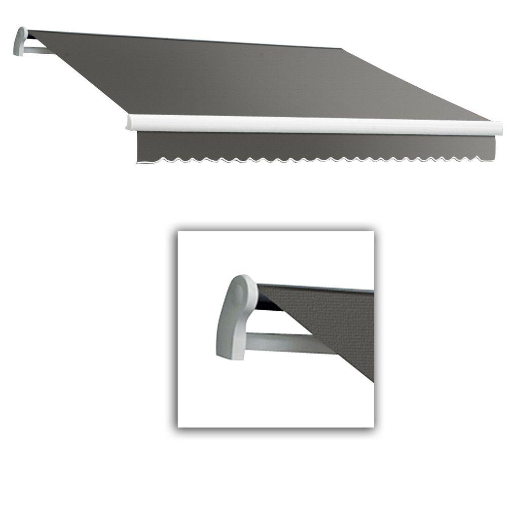 AWNTECH 12 ft. Maui-LX Left Motor Retractable Acrylic Awning with Remote (120 in. Projection) in Grey