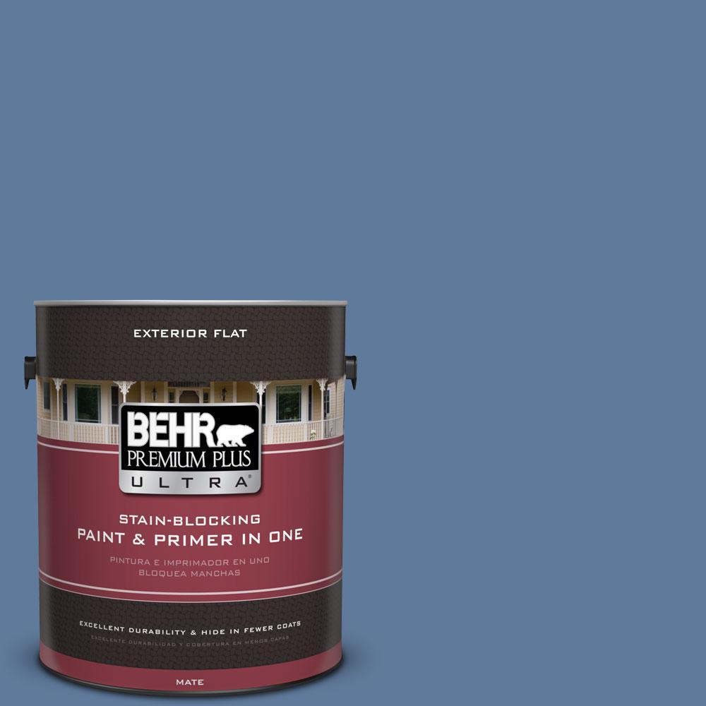 BEHR Premium Plus Ultra 1-Gal. #PPU14-2 Glass Sapphire Flat Exterior Paint