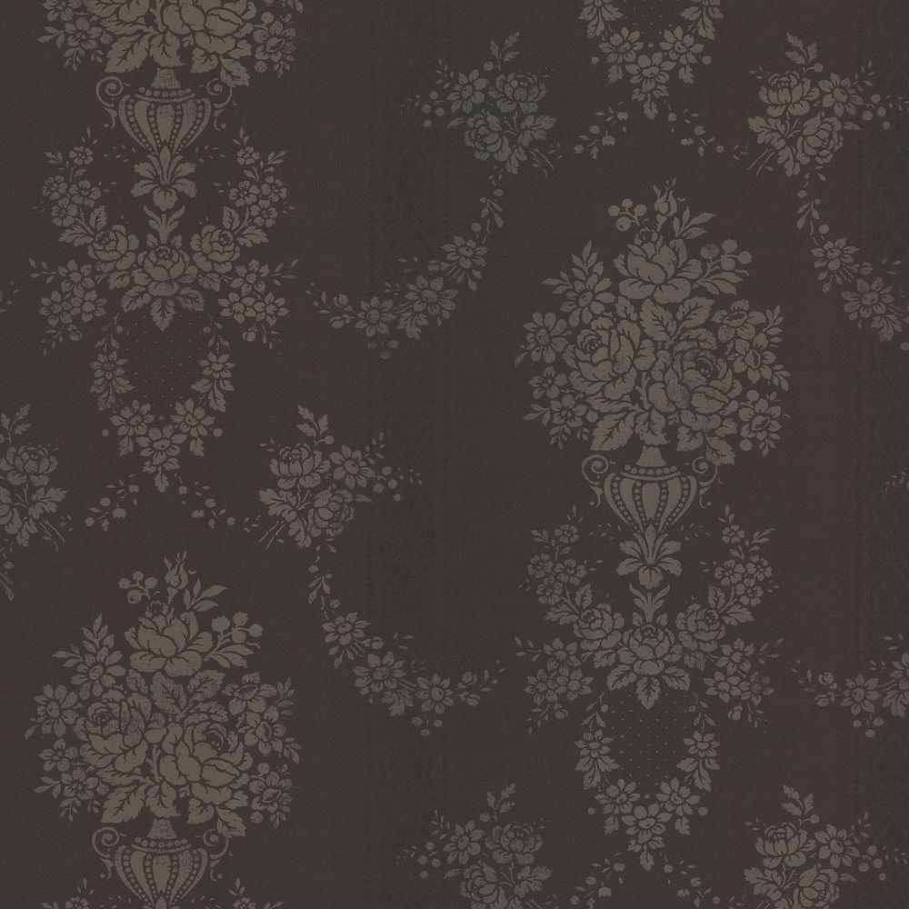 Brewster 8 in. W x 10 in. H Floral Urn Stripe Wallpaper Sample