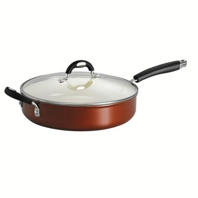 Style Ceramica 11 in. Covered Deep Skillet in Metallic Copper