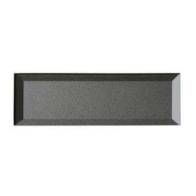 Secret Dimensions 3 in. x 12 in. Gray Glass Beveled 3D Peel and Stick Decorative Wall Tile Backsplash (4-Pack)