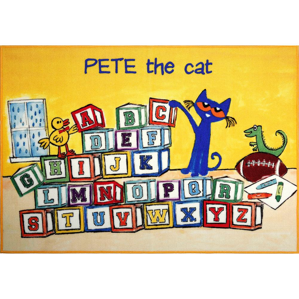 Pete The Cat Elementary Yellow Block Letters 6 Ft 6 In X 9 Ft 5 In Indoor Area Rug
