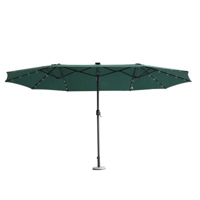 15 ft. Metal Market Solar LED Lighted Double-Sided Outdoor Umbrella in Green
