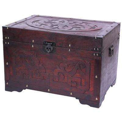 Cherry Wood with Fretwork Detail Vintage Trunk
