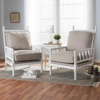 Hillary Beige and White Fabric Upholstered Accent Chair