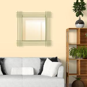 Pinnacle Champagne Metal Pipe Square Wall Accent Mirror 1805 ...