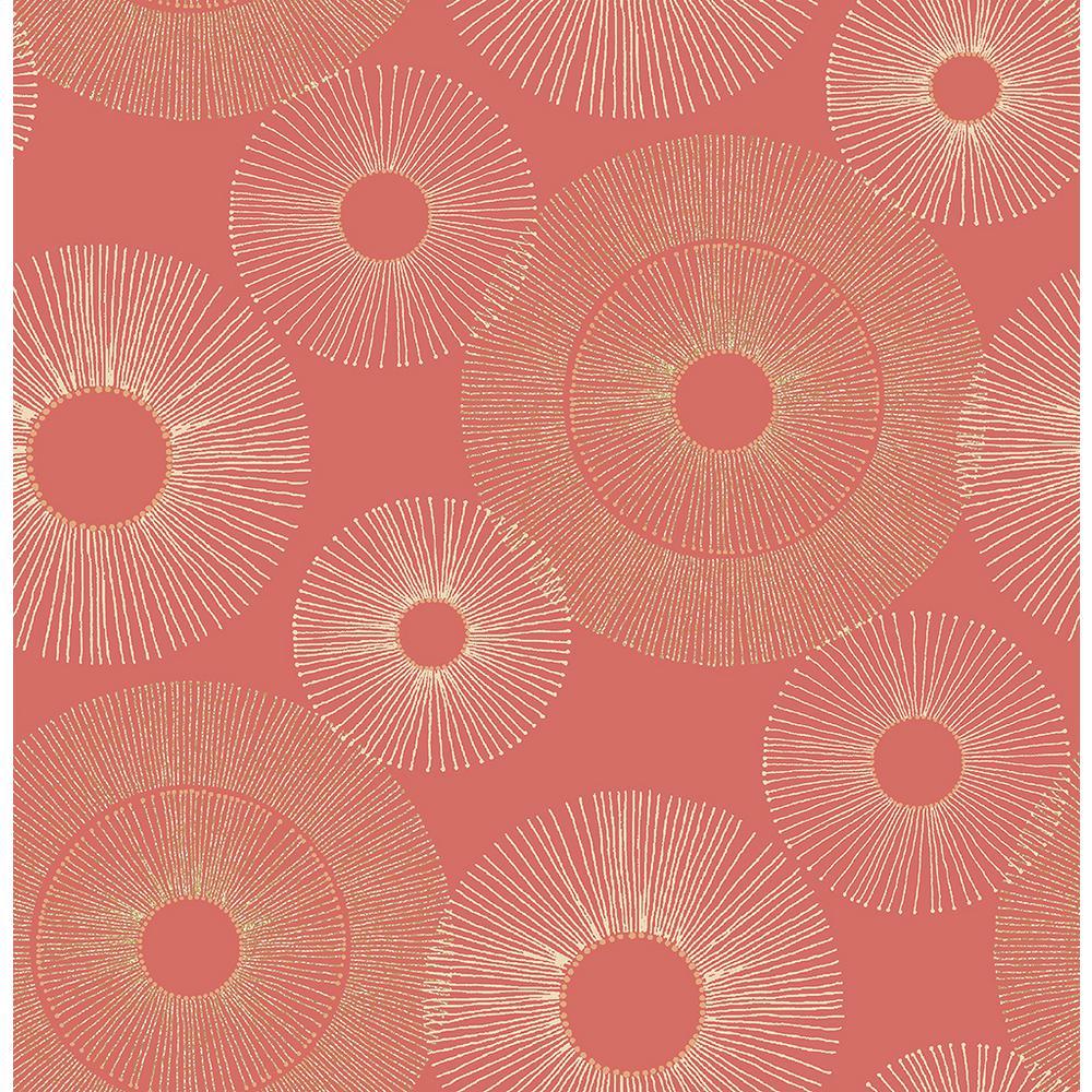 Eternity Coral Geometric Wallpaper Sample