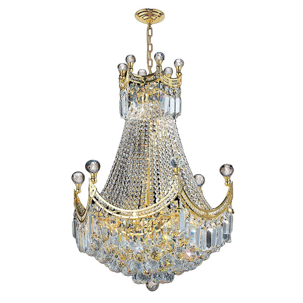 Worldwide Lighting Empire Collection 9-Light Polished Gold and Crystal Chandelier