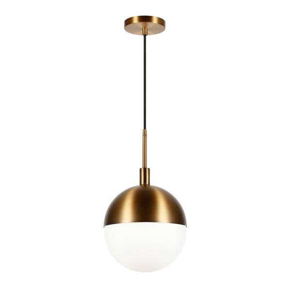 Orb 1-Light Large Globe Brass and Frosted Glass Pendant