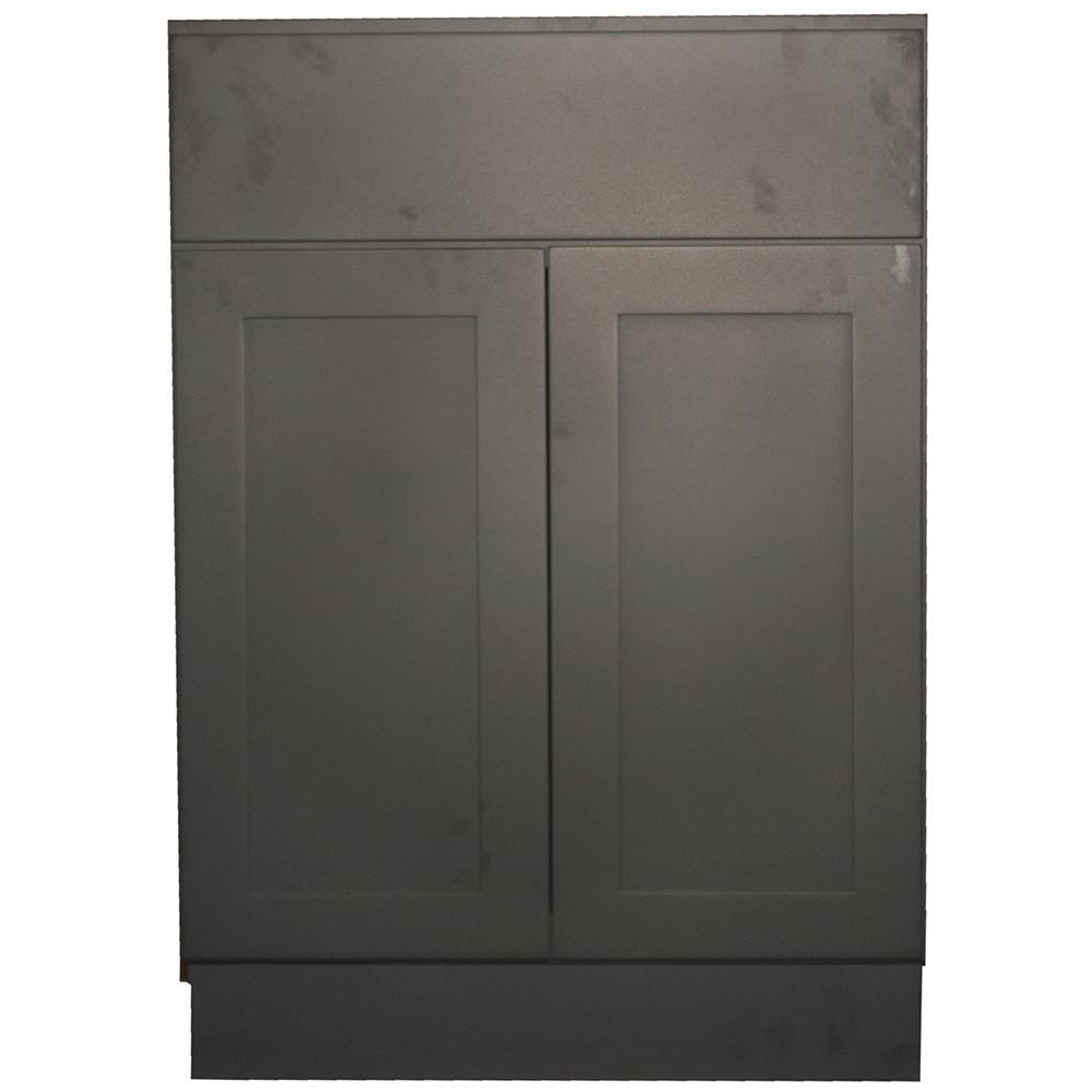 Krosswood Doors Black Satin Shaker II   Ready To Assemble 24x34.5x24 In. 2
