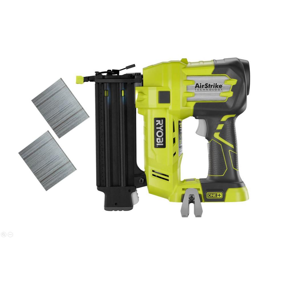 Ryobi 18-Volt ONE+ Lithium-Ion Cordless AirStrike 18-Gauge Brad Nailer (Tool-Only) with Sample Nails