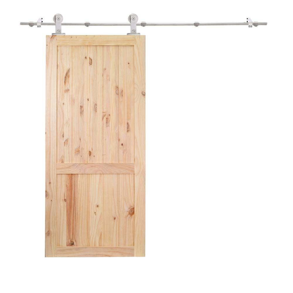 Calhome 36 in x 84 in 2 panel unfinished natural wood for Metal barn doors
