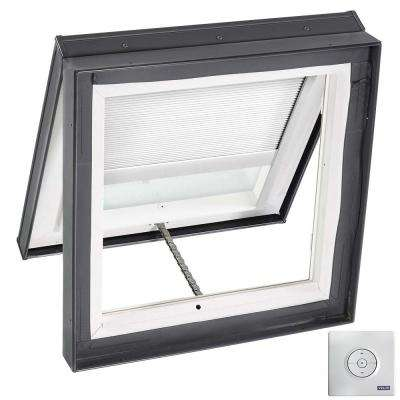 22-1/2 in. x 22-1/2 in. Venting Curb Mount Skylight w/ Tempered Low-E3 Glass & White Solar Powered Light Filtering Blind