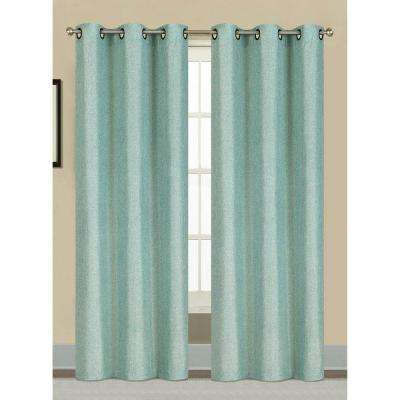 Semi-Opaque Willow Textured Woven 84 in. L Grommet Curtain Panel Pair, Seafoam (Set of 2)