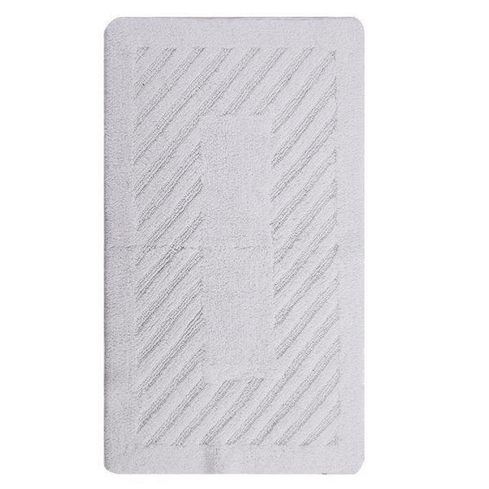 Diagonal Racetrack 22 in. x 60 in. White Reversible Bath Rug