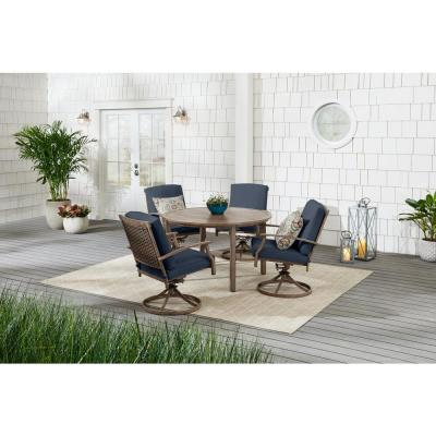 Geneva 5-Piece Brown Wicker Outdoor Patio Dining Set with CushionGuard Sky Blue Cushions