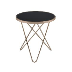 Acme Furniture Valora Champagne and Black Glass Top End Table by Acme Furniture