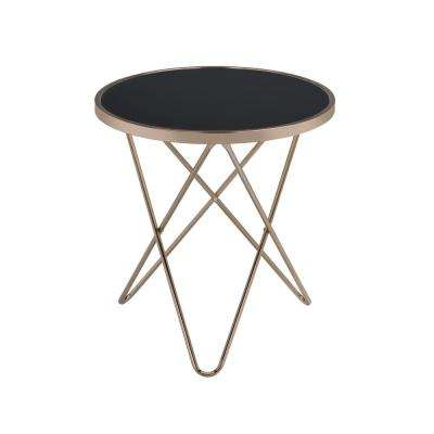 Valora Champagne and Black Glass Top End Table