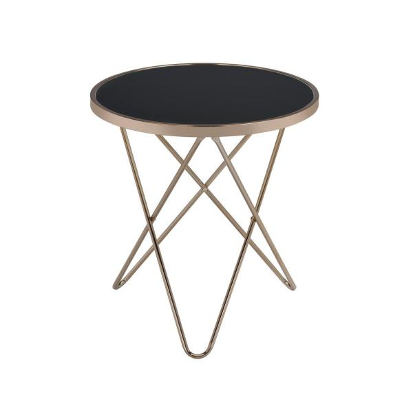 ACME Furniture Valora Champagne and Black Glass Top End Table 81832