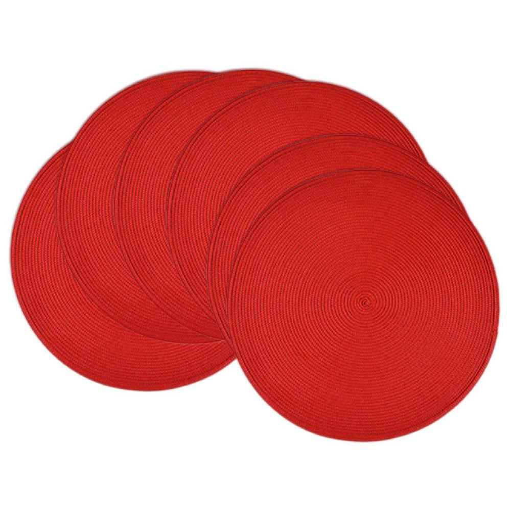 Red Round Woven Placemat (Set of 6)