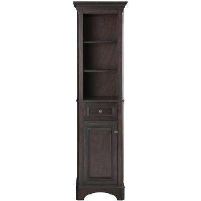 Moorpark 18 in. W x 67-1/2 in. H x 15 in. D 2-Shelf Wood Bathroom Linen Storage Floor Cabinet in Burnished Walnut