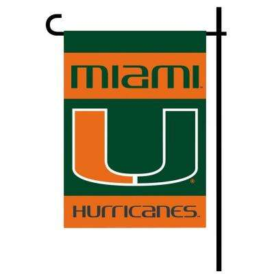 NCAA 13 in. x 18 in. Miami 2-Sided Garden Flag Set with 4 ft. Metal Flag Stand