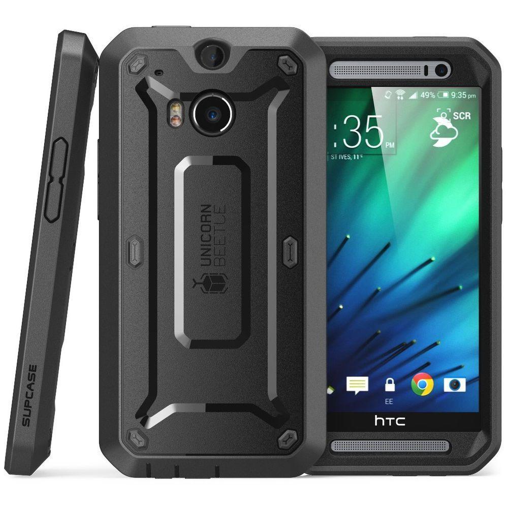 SUPCASE Unicorn Beetle Pro Full Body Case for HTC One M8, Black/Black