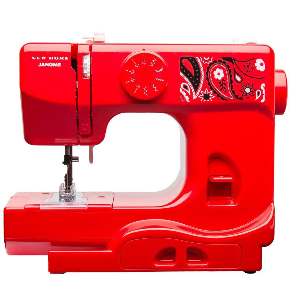 10-Stitch Sewing Machine, Red This compact Janome sewing machine is a great choice for both the experienced sewist and the young enthusiast. This compact machine includes essential features for finishing many types of sewing projects, from simple tasks and mending to scrapbooking and paper crafting. At just 5 lbs., it's perfectly portable. It has ten stitch options and a left and center needle position. It features a tension control dial and a four-point feed dog system. Other colors available. Color: Red.