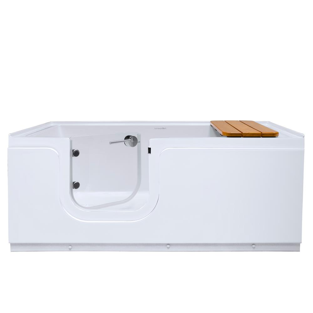 Homeward Bath Aquarite 5 ft. Left Drain Freestanding Step-In Bathtub with Waterproof Tempered Glass Tub Door and Bench in White