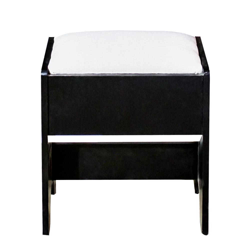 Boyel Living Vanity Set Dressing Black Table Cushioned ...