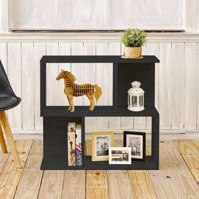 Soho 2 Shelf 11.2 x 32.1 x 30.2 zBoard Black Wood Grain Bookcase, Side Table, Storage Shelf