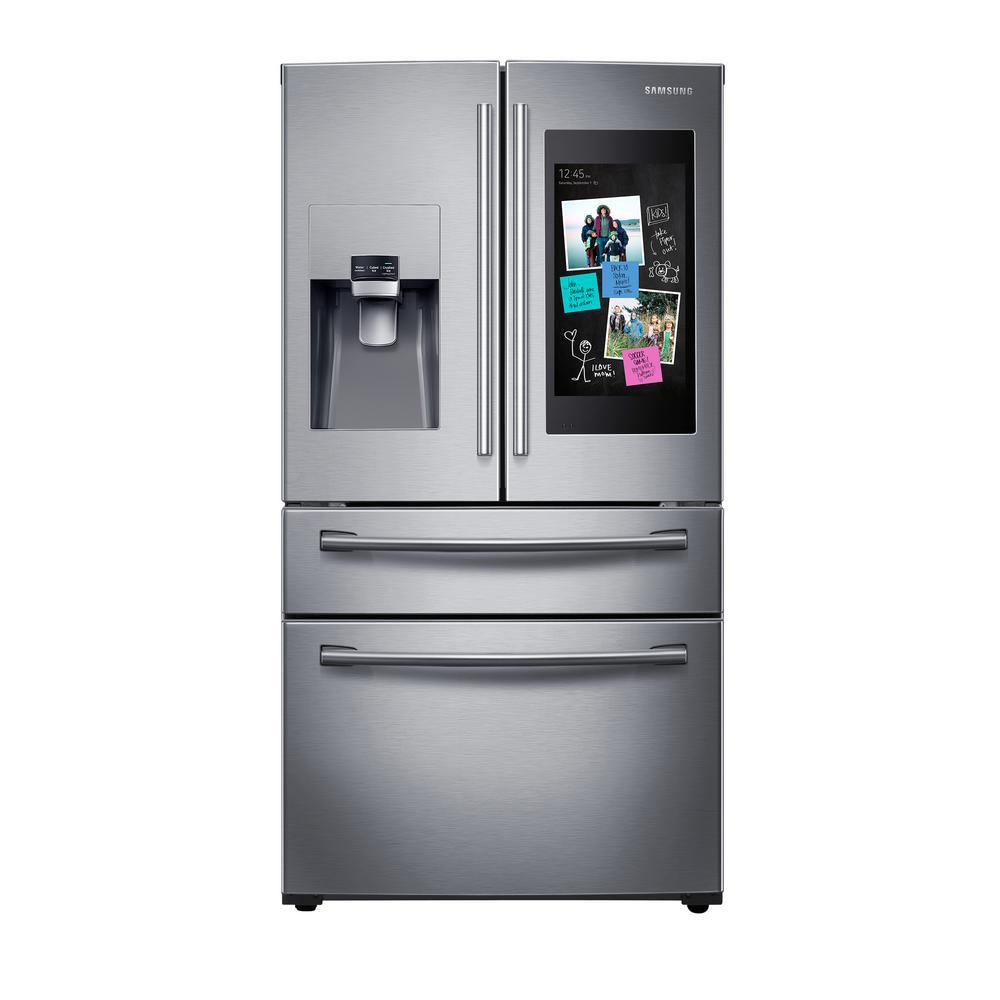 Samsung 27 7 cu  ft  Family Hub 4-Door French Door Smart Refrigerator in  Stainless Steel