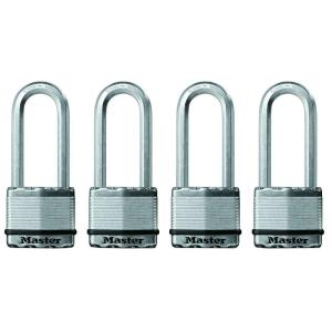Master Lock Magnum 2 inch Laminated Steel Padlock with 2-1/2 inch Shackle (4-Pack) by Master Lock