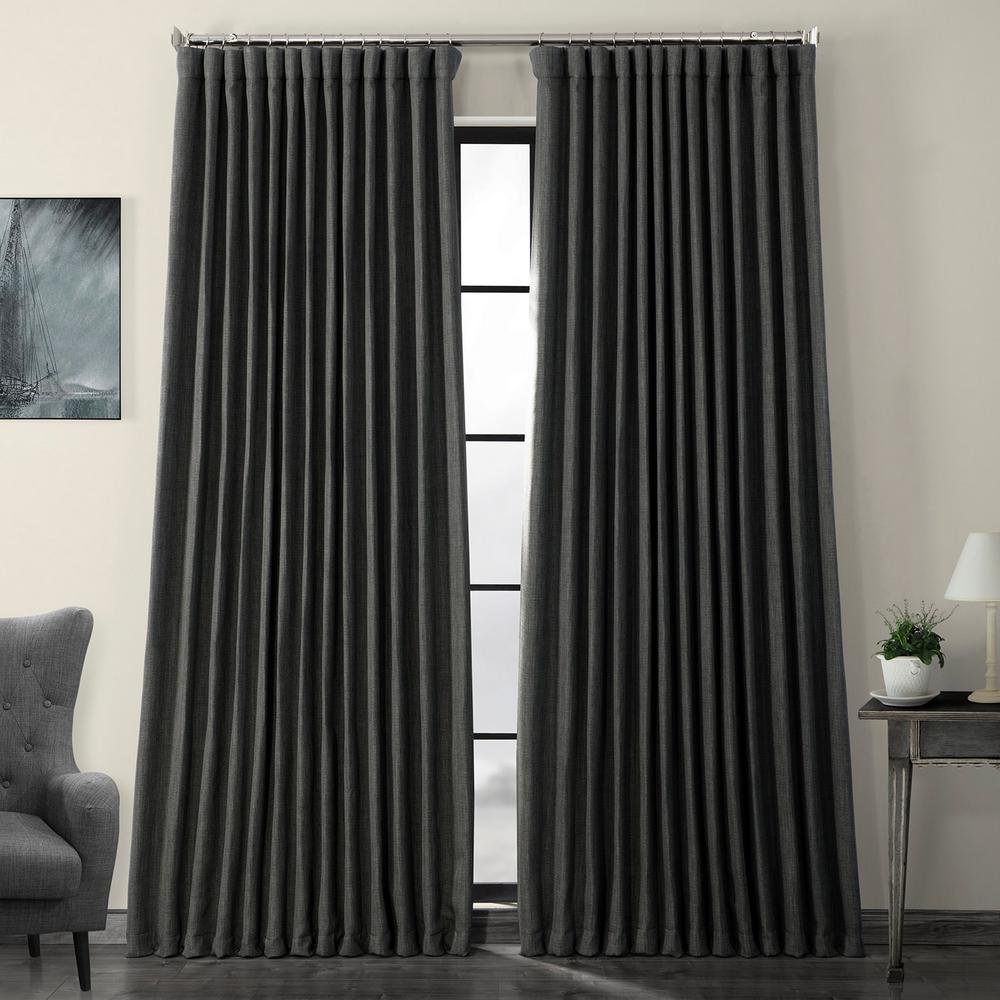 Dark Gravel Green Faux Linen Extra Wide Blackout Curtain - 100 in. W x 120 in. L