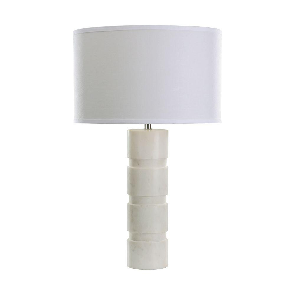 Titan Lighting 26 In White Round Stacked Marble Table Lamp Tn