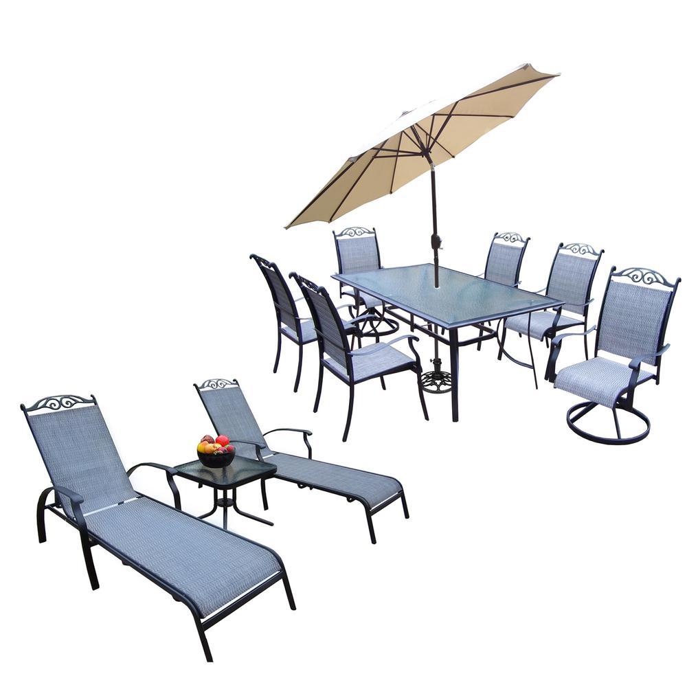 12 Piece Aluminum Outdoor Dining Set And Beige Umbrella